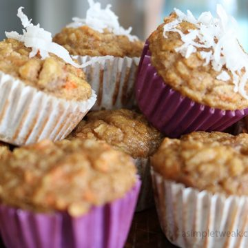 Apple, carrot and coconut mini muffins