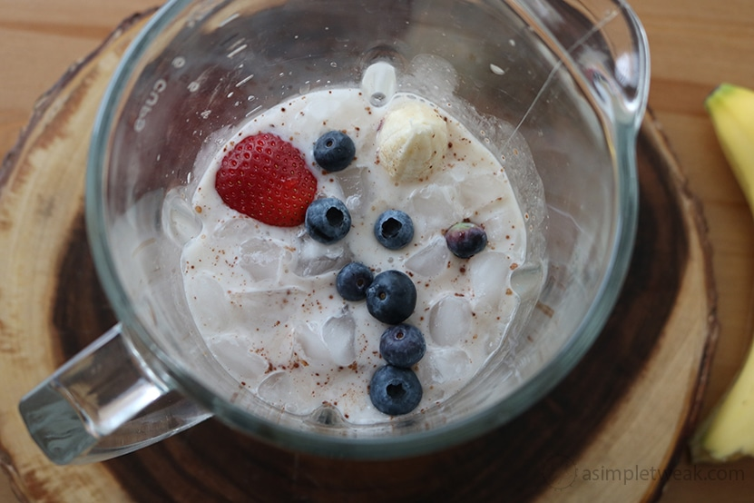 strawberries, blueberries, ice and bananas for Healthy Blueberry Strawberry Smoothie