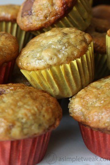 chocolate, banana bread mini muffin