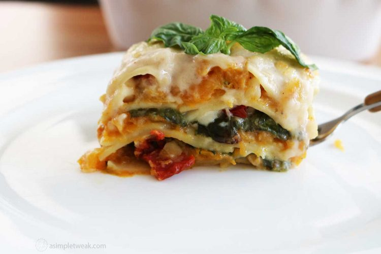 butternut-squash-lasagna-on-a-white-plate