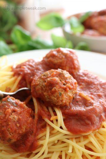 Meatballs over Pasta