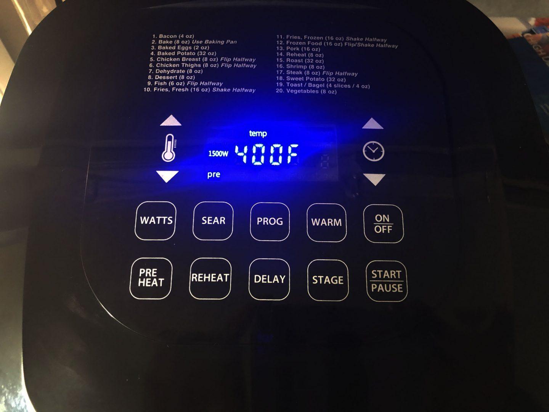 Air Fryer settings