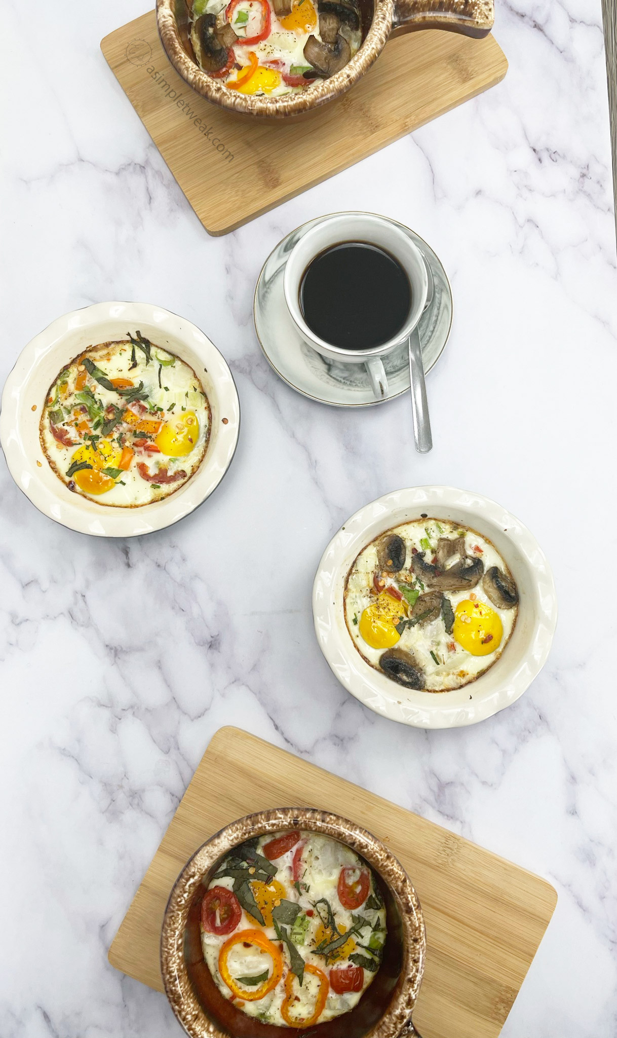 These baked eggs are delicious and easy to make. In less than 20 minutes, you'll be enjoying a healthy and satisfying breakfast.