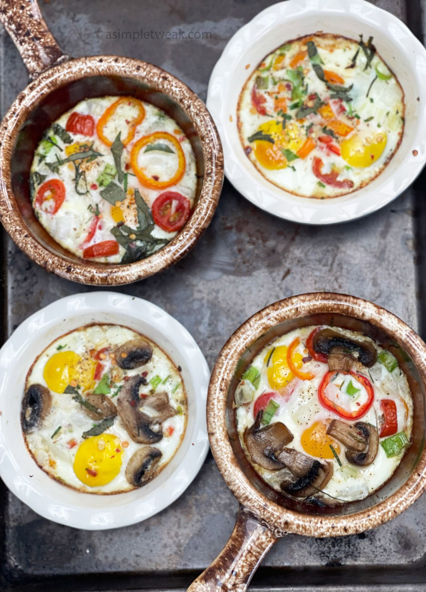 Baked Eggs. This recipe is perfect for making a complete breakfast for a crowd or an excellent fancy breakfast for two!